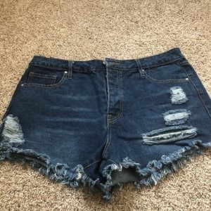 Refuge Ripped Button Up Shorts 10